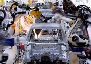 Robots 8Cadena de montaje de Volkswagen en Wolfsburg (Alemania).