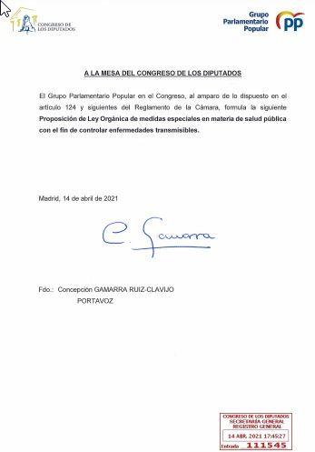 Proposición de ley orgánica del PP para controlar las pandemias sanitarias