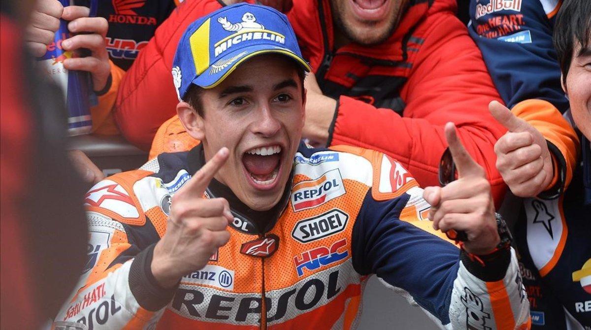 Marc Márquez grita su tercer triunfo en solitario de la temporada en Le Mans.