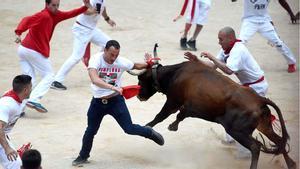 Perill i velocitat en el setè 'encierro' de Sant Fermí