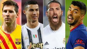 Los principales clubes europeos anuncian la creación de la Superliga. En las fotos, Messi, Cristiano Ronaldo, Sergio Ramos, Luis Suárez.