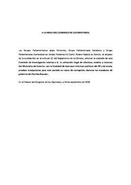 Solicitud de creación de una comisión de investigación en el Congreso por la 'operación Kitchen', registrada este 10 de septiembre de 2020 por PSOE y Unidas Podemos.