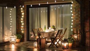 Terraza decorada.