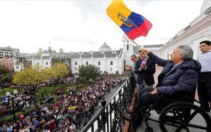 El presidente de Ecuador, Lenín Moreno, en el balcón del Palaciode Carondelet en Quito.