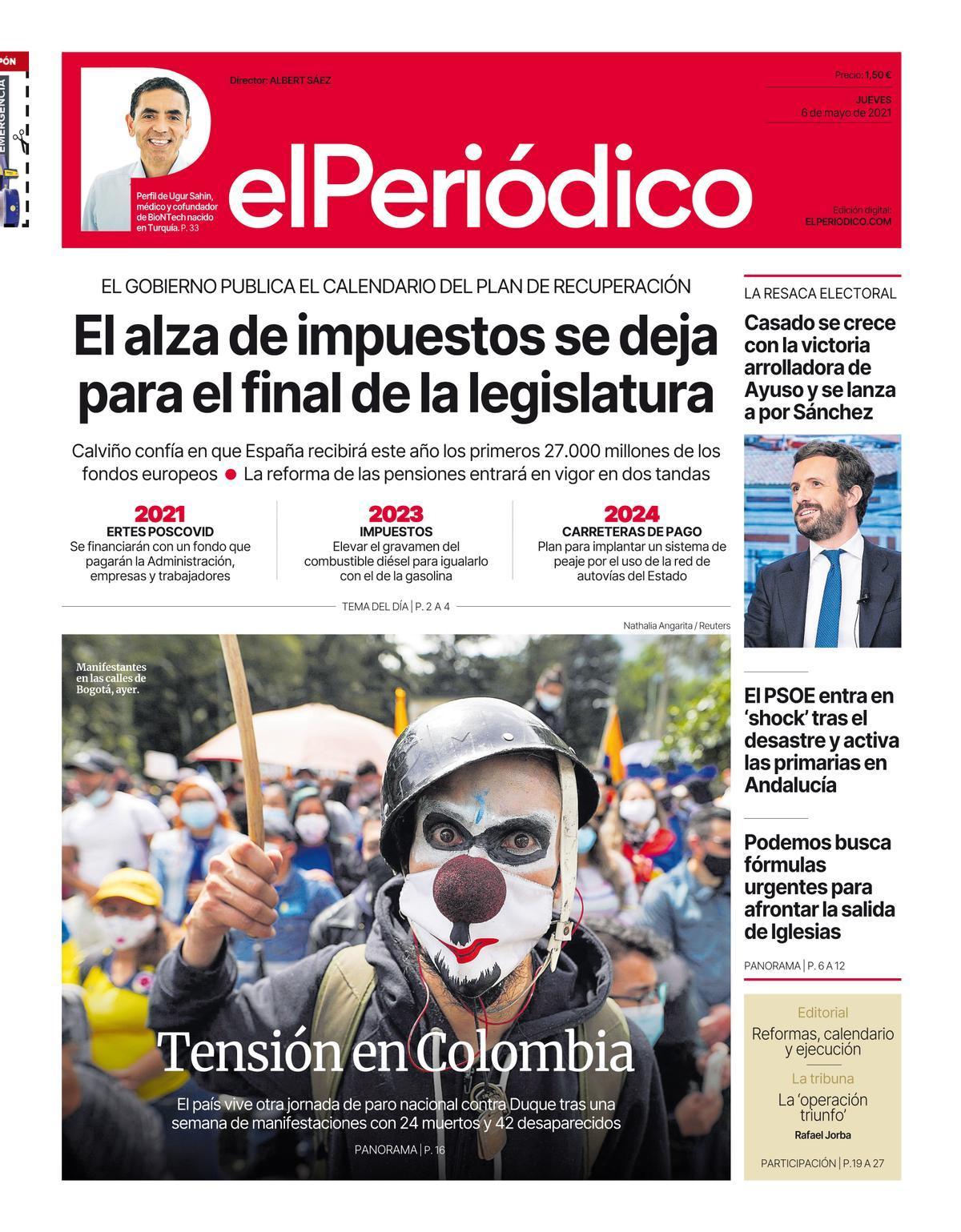 La portada de EL PERIÓDICO del 6 de mayo de 2021