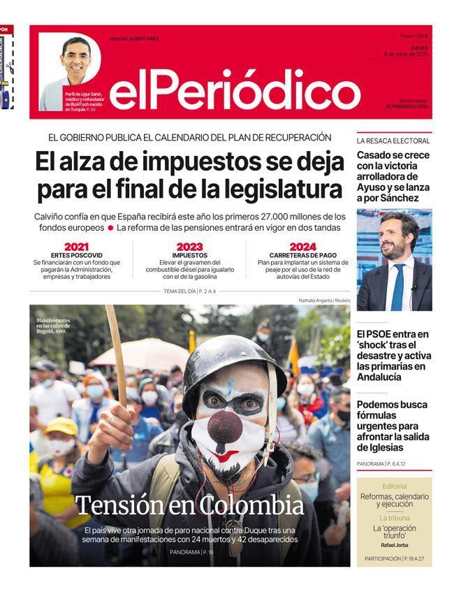 La portada d'EL PERIÓDICO del 6 de maig del 2021
