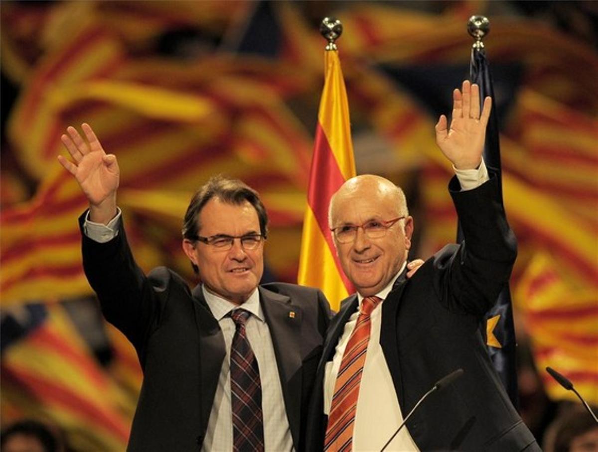 Mas y Duran Lleida, en un acto de campaña de las últimas elecciones catalanas.