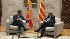 Pedro Sánchez y Quim Torra, durante su reunión en el Palau de la Generalitat, el pasado 6 de febrero.