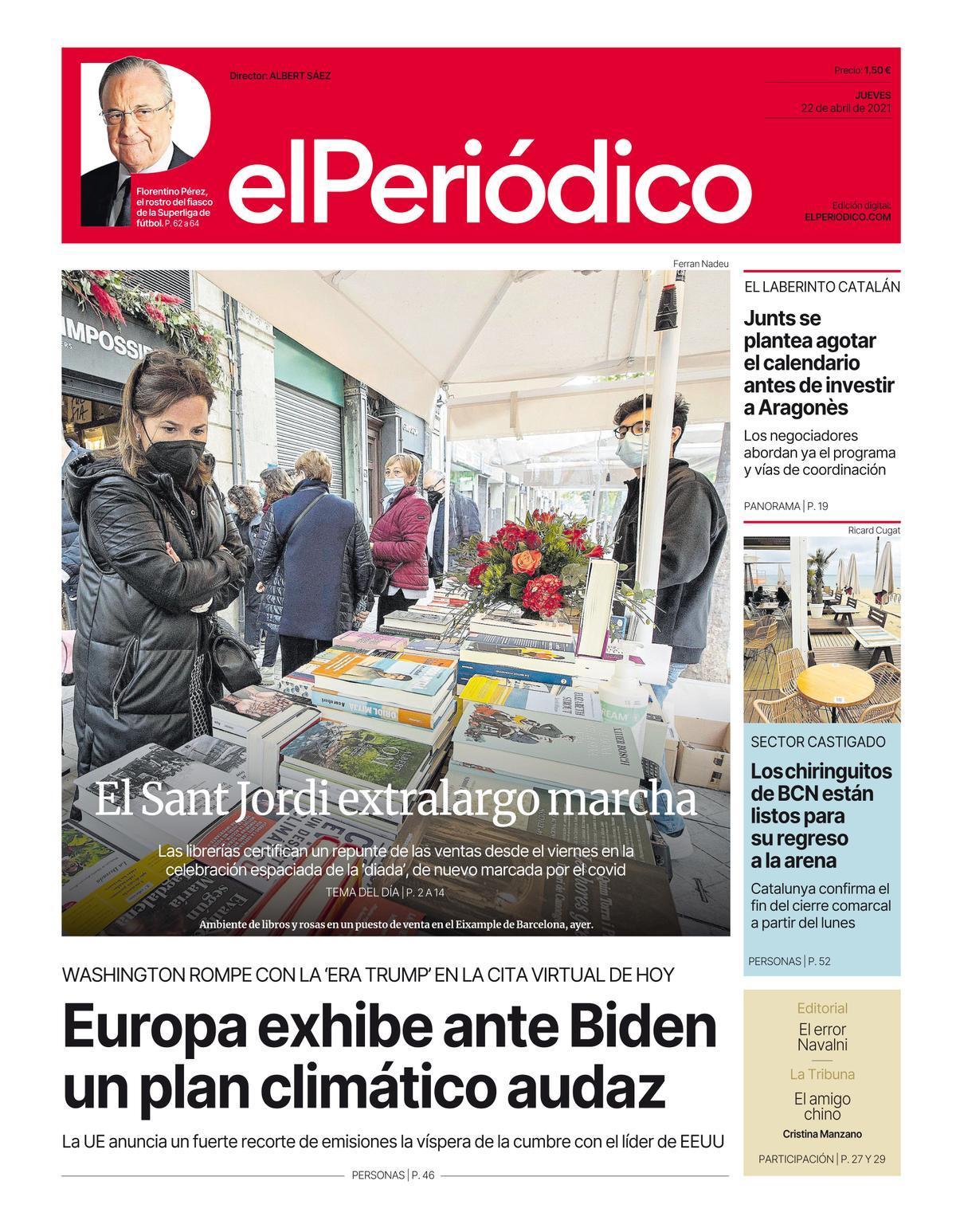 La portada de EL PERIÓDICO del 22 de abril de 2021