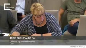 La diputada liberal noruega Trine Skei Grande, jugando al Pokémon en una sesión parlamentaria.