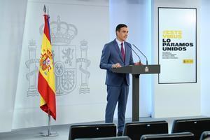 El presidente del Gobierno, Pedro Sánchez, durante su comparecencia en la Moncloa en la que comunicó la nueva composición del Gabinete, este 10 de julio.