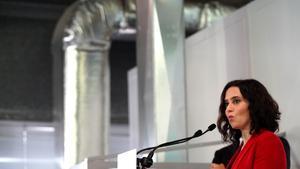 La candidata del PP y presidenta madrileña, Isabel Díaz Ayuso, el pasado 26 de abril en un acto de campaña.