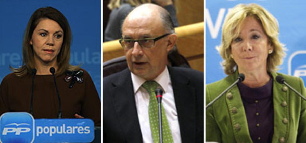 Los dirigentes del PP María Dolores de Cospedal, Cristóbal Montoro y Esperanza Aguirre.