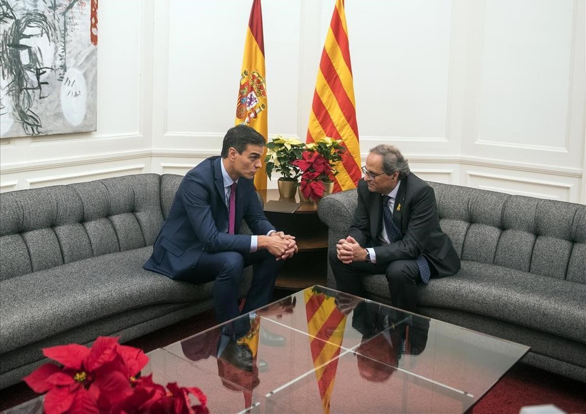 Reunión Sánchez-Torra en la víspera del Consejo de Ministros en BCN.