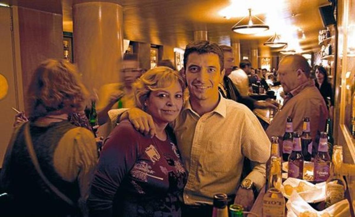 Trini y Fran, el miércoles por la noche en la 'kedada' de los 'singles' en el Snooker Barcelona.