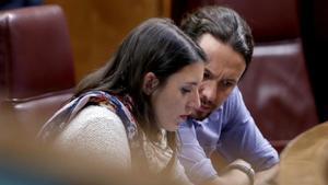 La portavoz parlamentaria en el Congreso, Irene Montero, y el secretario general, Pablo Iglesias, el pasado 21 de mayo, en el Congreso.