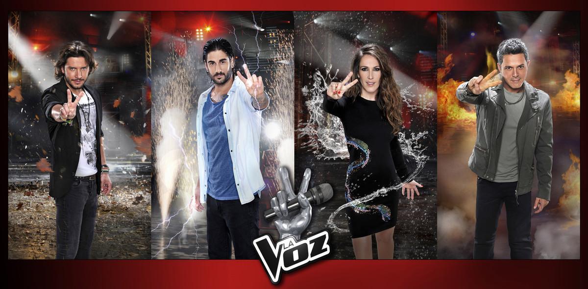 Alejandro Sanz, Malú, Manu Carrasco y Melendi, los cuatro 'coachs' de la cuarta temporada del concurso de Tele 5 'La Voz'.