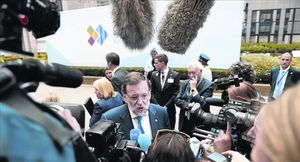 Mariano Rajoy, ayer, a su llegada a la cumbre Unión Europea-Comunidad de Estados de América Latina y el Caribe (Celac).