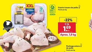 Anuncio del precio del pollo.