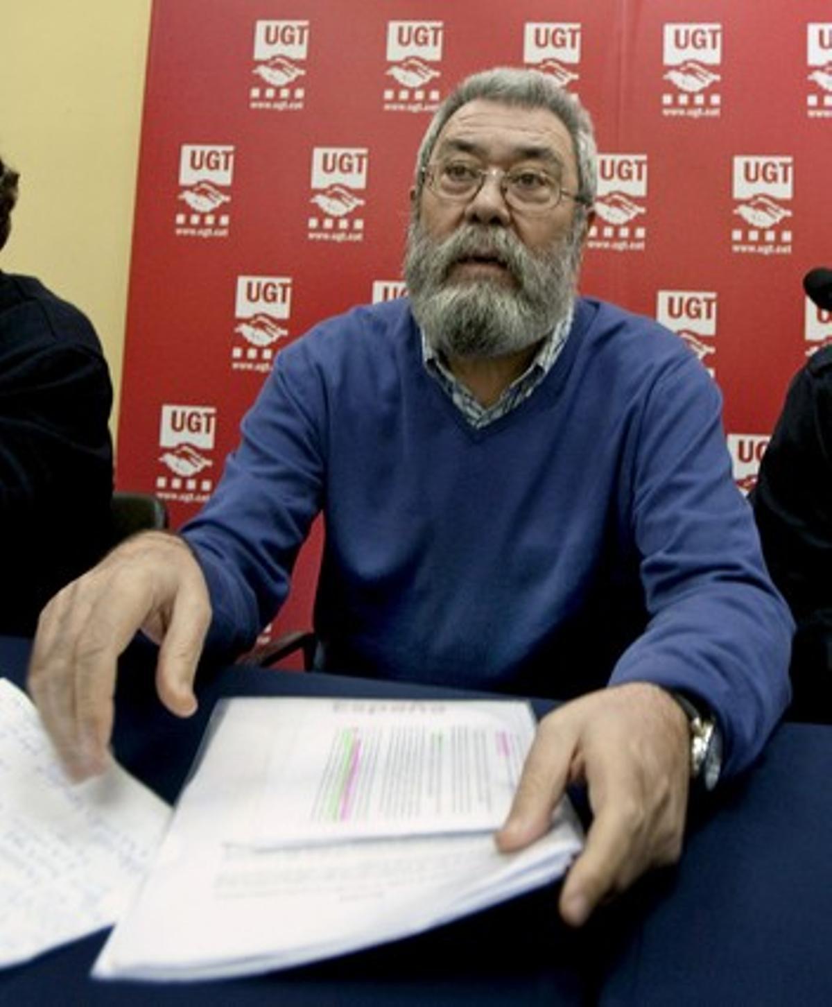 Cándido Méndez, durante la asamblea de afiliados de UGT en Seat, este sábado, en L'Hospitalet.