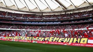 Imagen de la grada del Wanda Metropolitano, en el partido femenino entre el Atlético y el Barça.