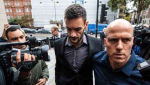 LONDON, ENGLAND - SEPTEMBER 12: Tottenham Hotspur and French National goalkeeper Hugo Lloris (C) arrives at Westminster Magistrates' Court charged with drink driving on September 12, 2018 in London, England. The footballer is accused of being over twice the legal alcohol limit when he was stopped by police on August 24. (Photo by Jack Taylor/Getty Images)
