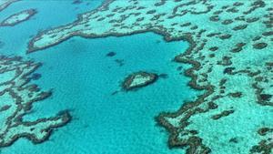 Vista aérea de la Gran Barrera de Coral, enclave amenazado por el cambio climático.