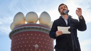 Casado, el pasado martes, en Figueres, en un acto electoral.