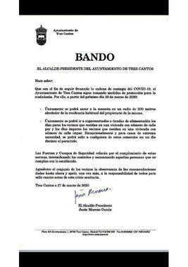 Bando del alcalde de Tres Cantos.