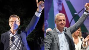 Feijóo (PP y Urkullu (PNV), los grandes triunfadores de la noche electoral, en Galicia y el País Vasco.