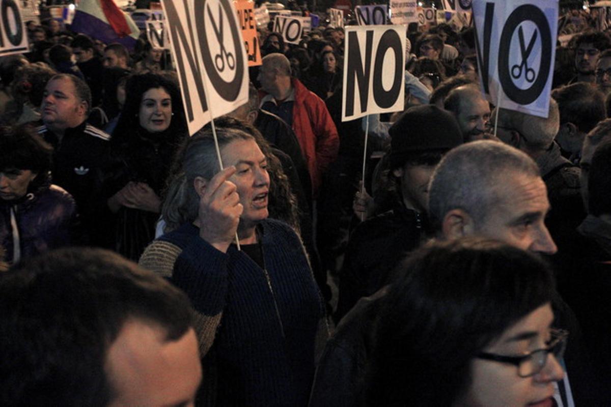 Manifestación en la plaza de Neptuno de Madrid contra los Presupuestos del Gobierno.