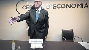 Antón Costas, antes de comenzar una rueda de prensa.