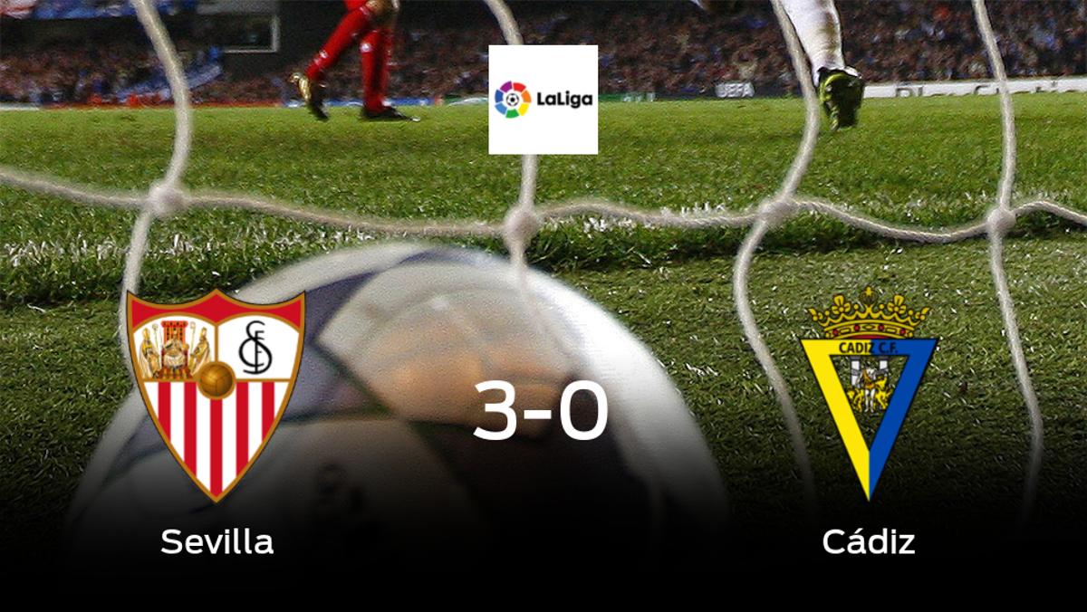 El Sevilla consigue los tres puntos en casa tras pasar por encima del Cádiz (3-0)