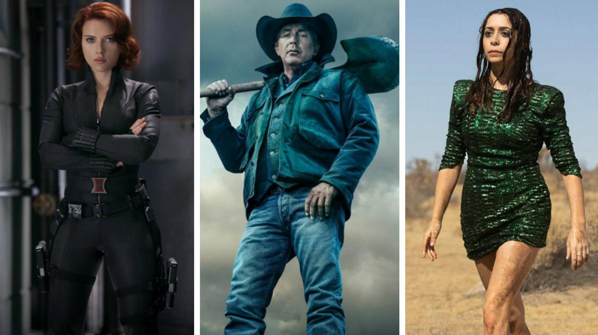 Fotogramas de las series 'Viuda negra', 'Yellowstone' y 'Made for love'.