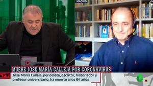 Antonio García Ferreras no puede contener las lágrimas al informar de la muerte de José María Calleja