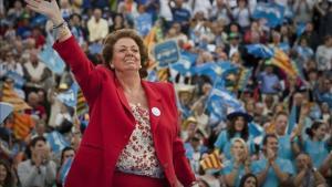 Rita Barberá durante un acto de campaña electoral en Valencia.