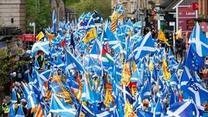 Manifestación en Glasgow para la convocatoria de un segundo referéndum de independencia en Escocia.