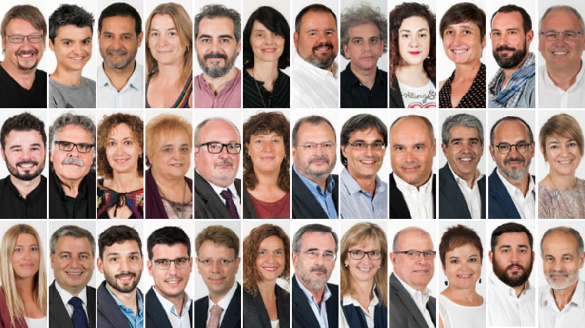 Los diputados de En Comú Podem (12), ERC (9), CDC (8) y el PSC (7) que han votado 'no' a Rajoy.