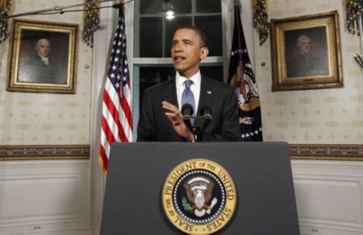 El presidente de EEUU, Barak Obama, durante su declaración institucional tras el acuerdo logrado en el Congreso entre demócratas y republicanos.