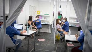 Vacunación contra el covid en el recinto de Fira de Barcelona.