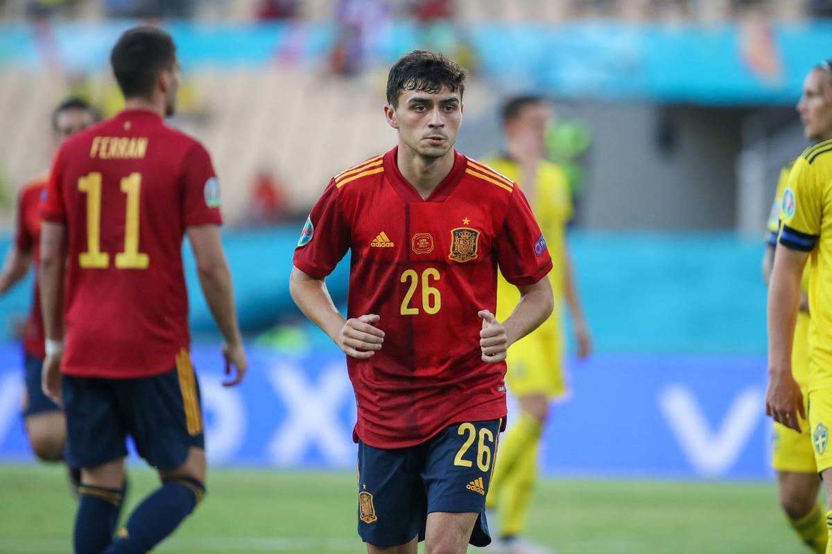 Pedri, en el partido contra Suecia en La Cartuja de Sevilla.