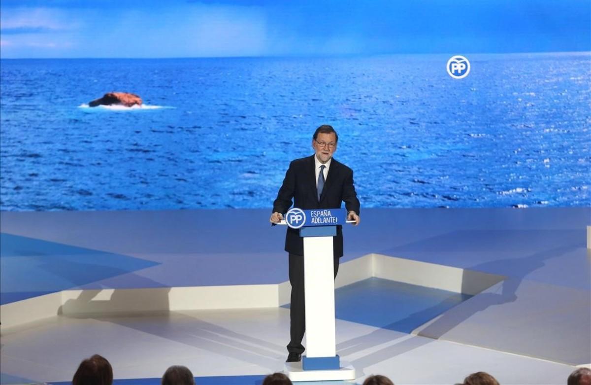 El líder del PP, Mariano Rajoy, en la presentación esta tarde de su candidatura en el 18 congreso popular.