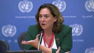 La alcaldesa de Barcelona, Ada Colau, en la sede de la ONU en Nueva York.
