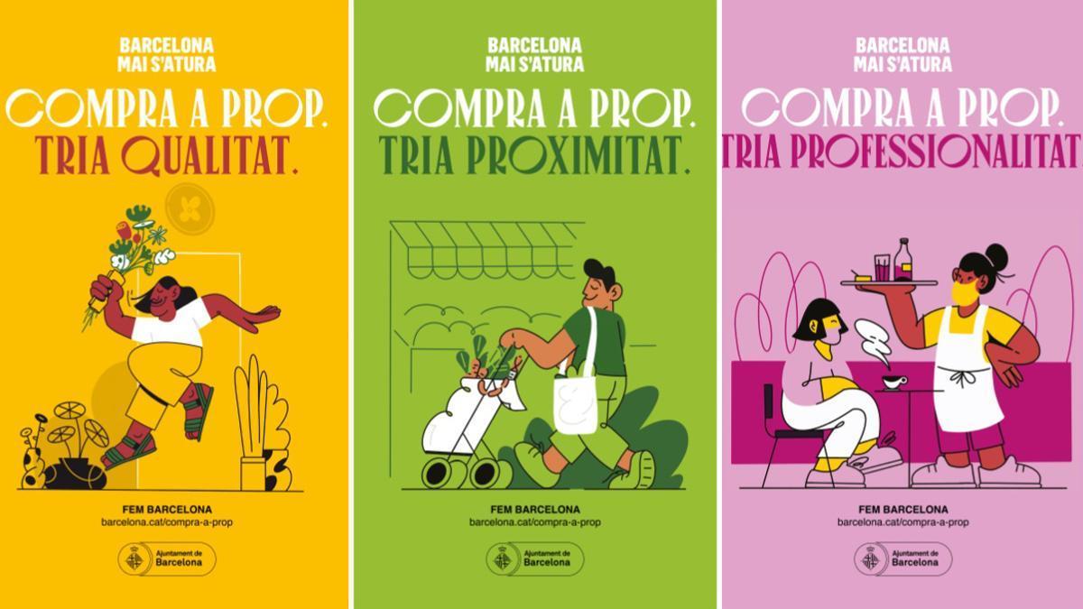 Tres carteles de la campaña 'Compra a prop' del Ayuntamiento de Barcelona.