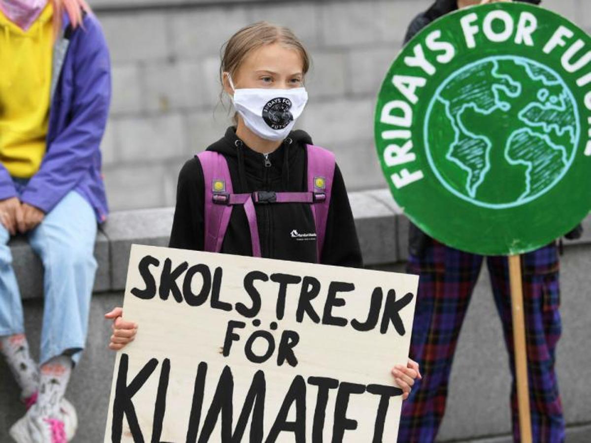 Greta Thunberg. en una reciente concentración en Estocolmo.