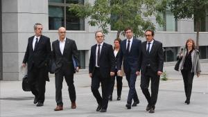 Los 'exconsellers', este jueves a su llegada a la Audiencia Nacional para declarar ante la jueza Carmen Lamela.