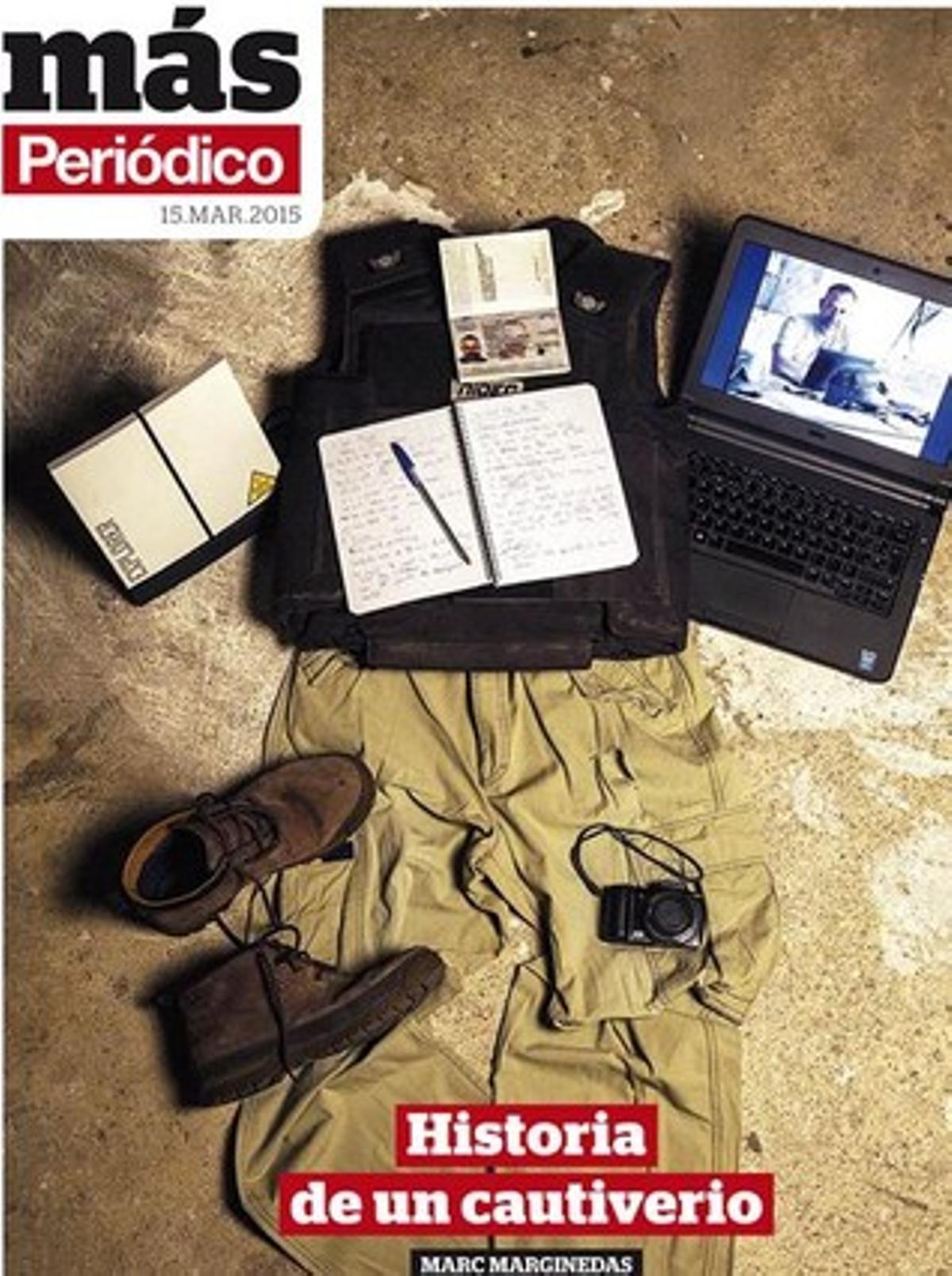 Portada del 'Más Periódico' de este domingo con las herramientas de trabajo de Marginedas.