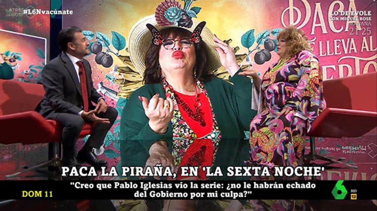 Iñaki López con Paca la piraña (La Sexta).