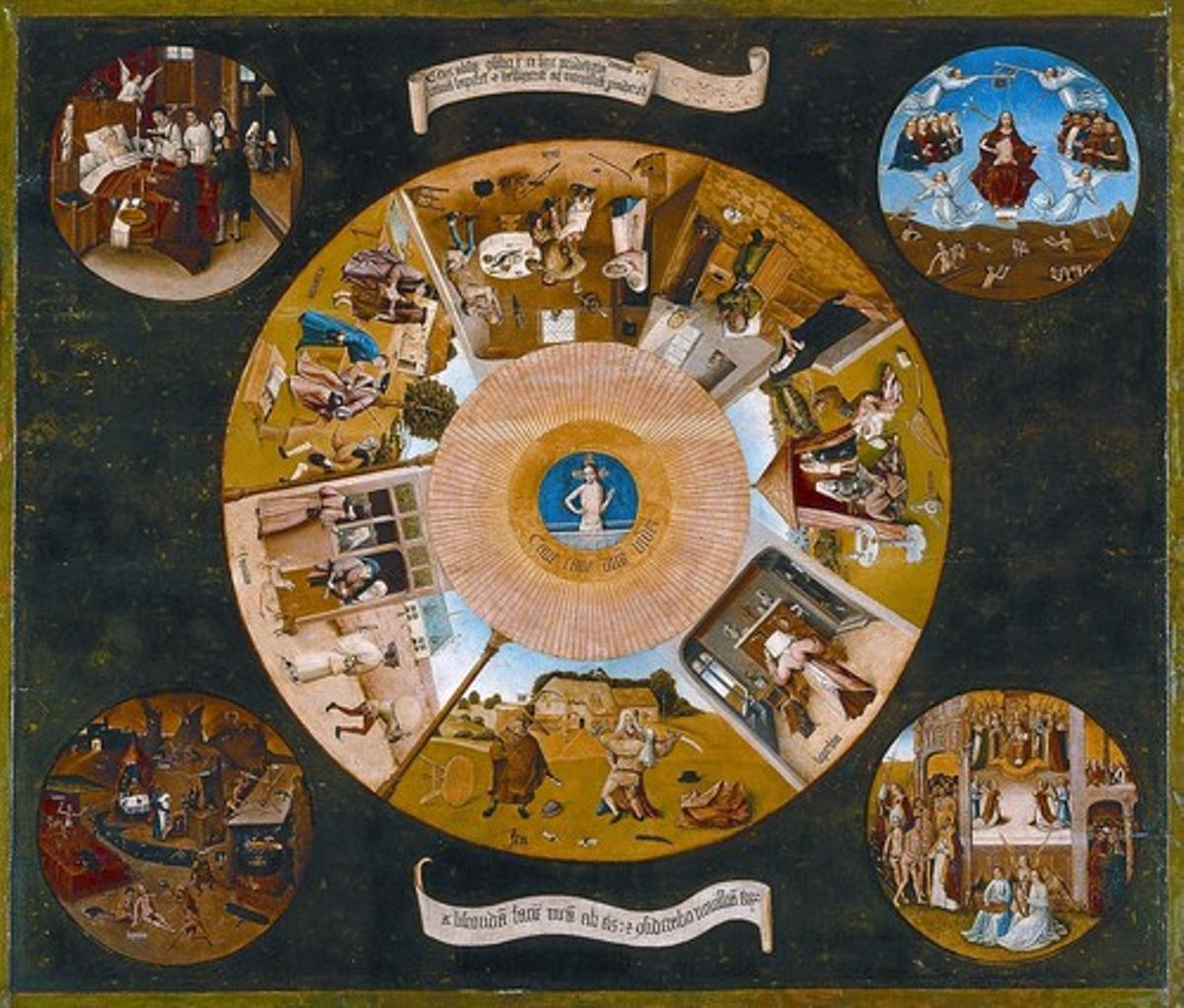 Los 7 pecados capitales representados en un óleo sobre tabla del siglo XV.