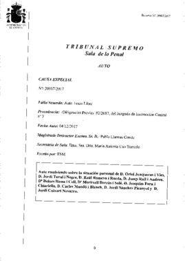Auto con la decisión del juez Supremo sobre Oriol Junqueras y los siete 'exconsellers' encarcelados.